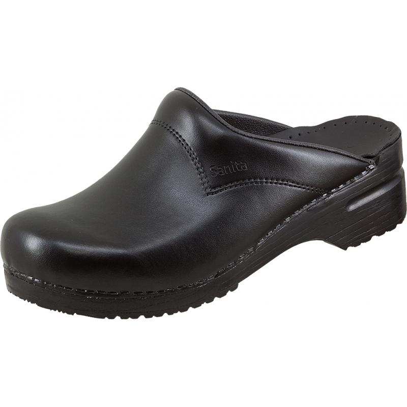 Clogs Schuhe Sandalen Leder Hausschuhe Sanita Clog offen EN20347 schwarz