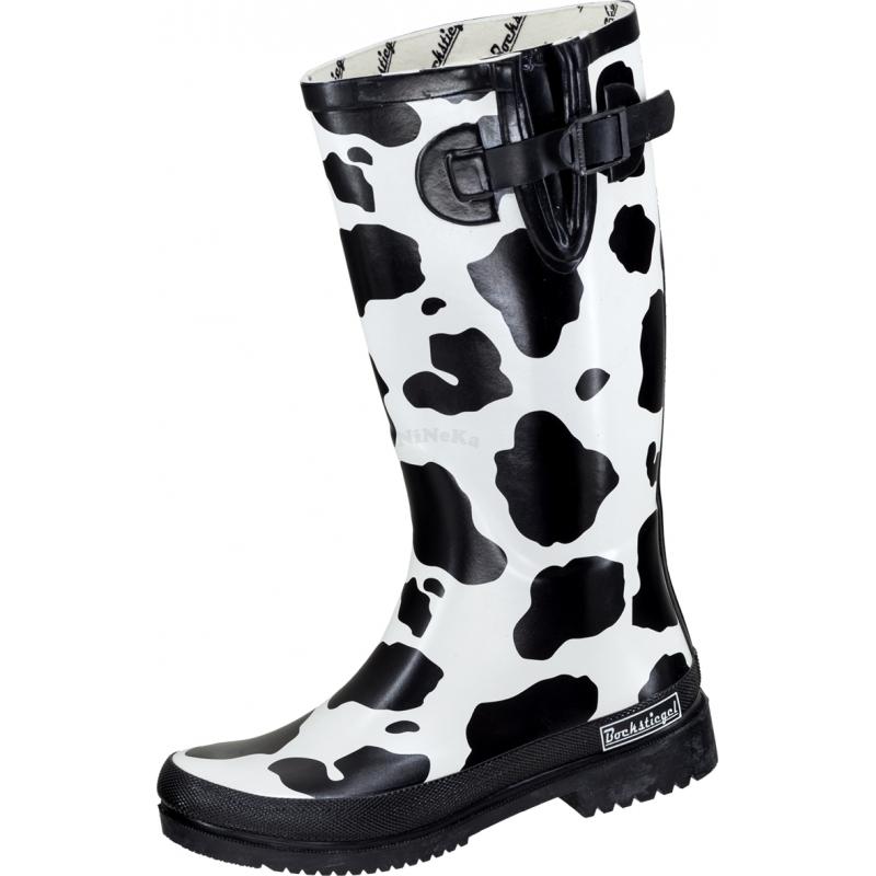 Gummistiefel Outdoorstiefel Regenstiefel KUH schwarz/weiß - Größe 39
