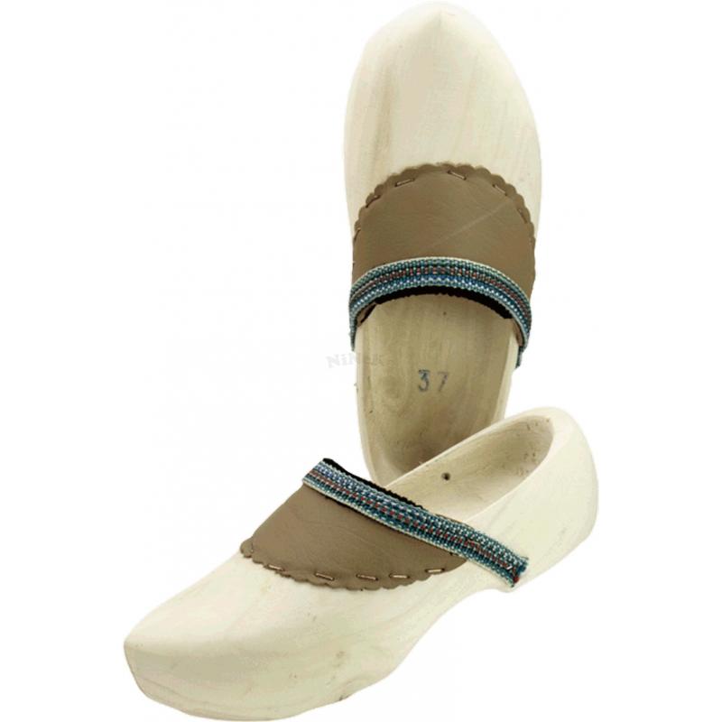 Holz natur Clogs Schuhe Leder Klompen Holzclogs Holzschuhe mit Lederbesatz