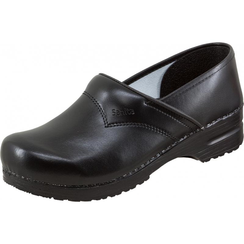 Leder Clogs Hausschuhe Sandale Schuh Sanita Clog geschlossen EN20347 schwarz