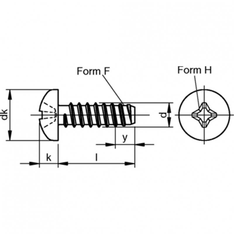 Linsen Blechschrauben F-H Stahl Stahl galvanisch verzinkt - 3,5x13 - 1000 Stk