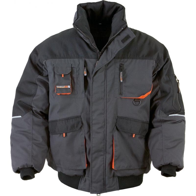 Pilotenjacke Arbeitsjacke Pilotenjacke grau/orange Gr. XXL grau/schwarz/orange