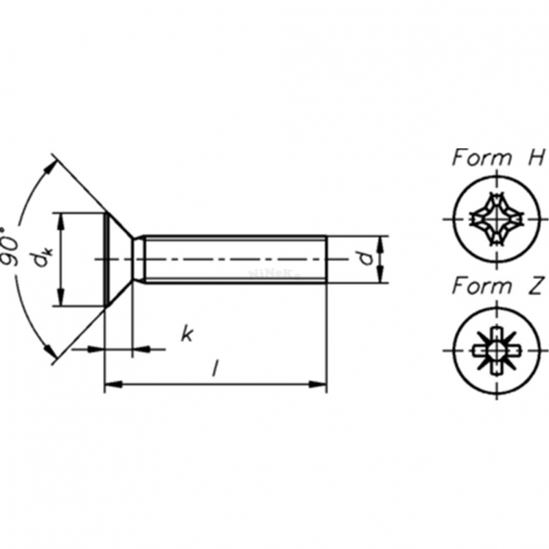 Senkschrauben mit Kreuzschlitz H DIN 965 - DIN EN ISO 7046 A2 - M4x12 - 2000 Stk