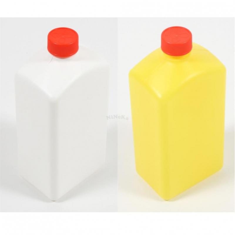 Vierkant Flasche aus Kunststoff LEER Leerflasche mit Deckel Verschluss rot